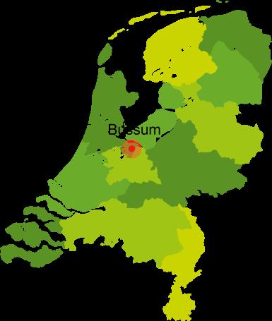 Kaart van Nederland met bezorggebied